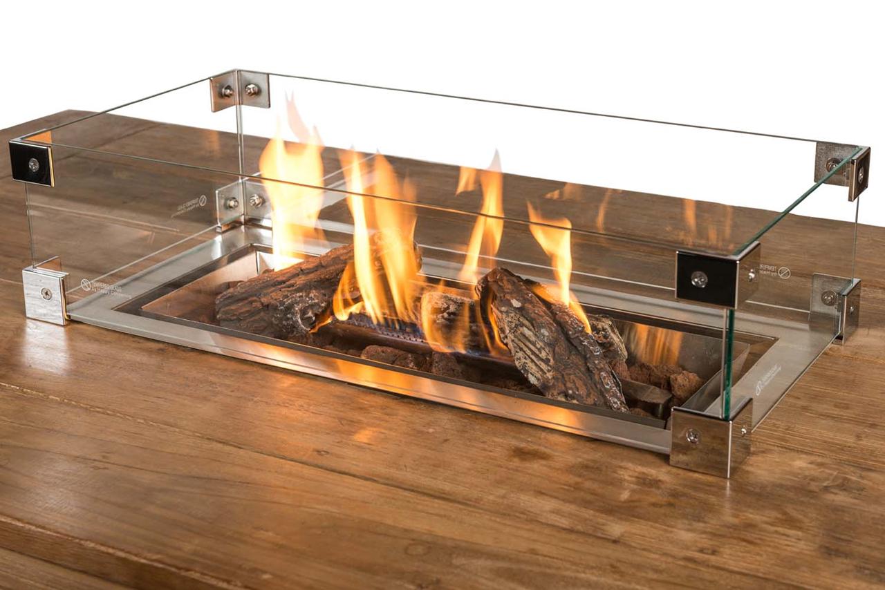 Beskyttelsesglass rektangulær til innsettbar brenner