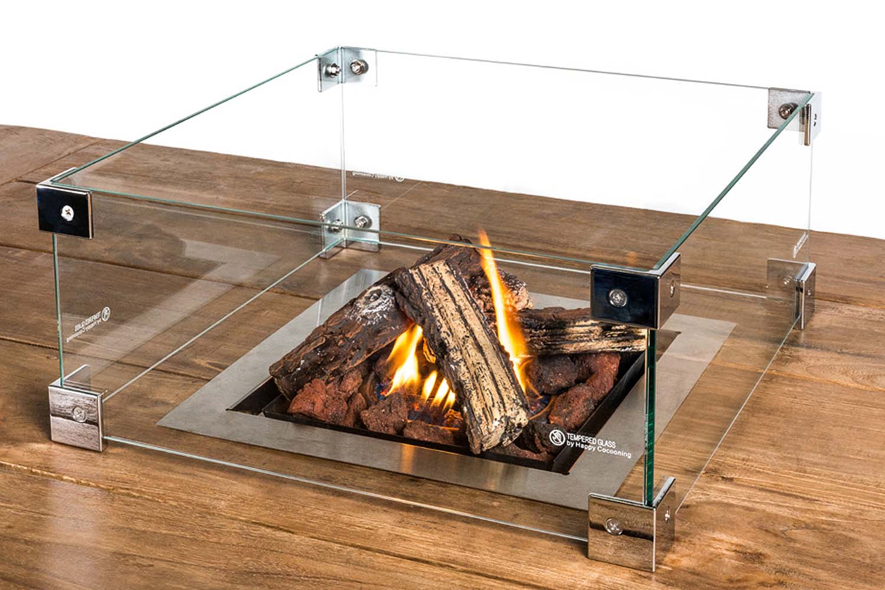 Beskyttelsesglass kvadratisk til innsettbar brenner